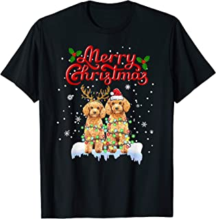 Poodle Christmas Lights Funny Dog Matching Family Xmas Gifts T-Shirt