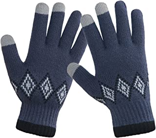 c724e422fb7 LETHMIK Winter Touchscreen Knit Gloves Mens Thick Texting Gloves with Warm  Wool Lining