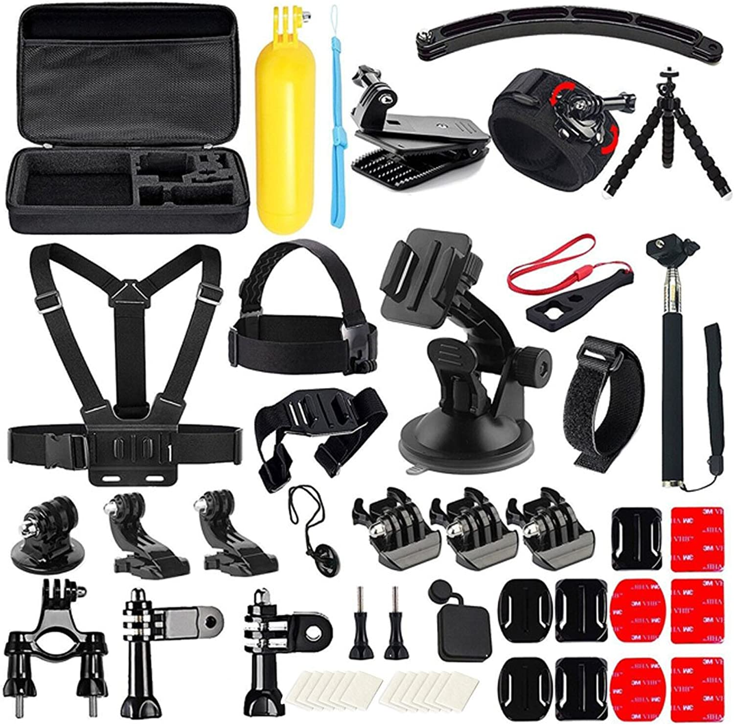 Hecaba Accessory Kit for Gopro 50 in 1 Multi-Function Foldable for Action Camera Gopro 6 Gopro 5 Xiaomi Camera Gopro 4 Gopro 3 Diving Surfing Ski Snowboard Velcro Neoprene ABS SJCAM Android Cellphone