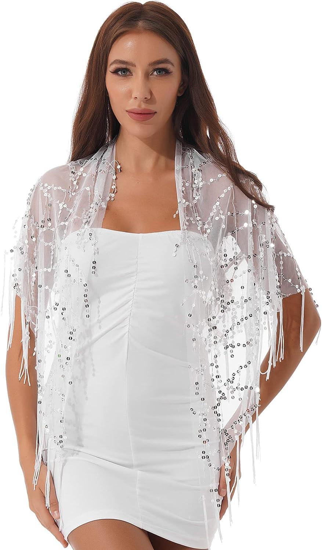 ranrann Women's Tassel Scarf Shawl Soft Mesh Sequin Fringe Wraps for Wedding Evening Party Dresses