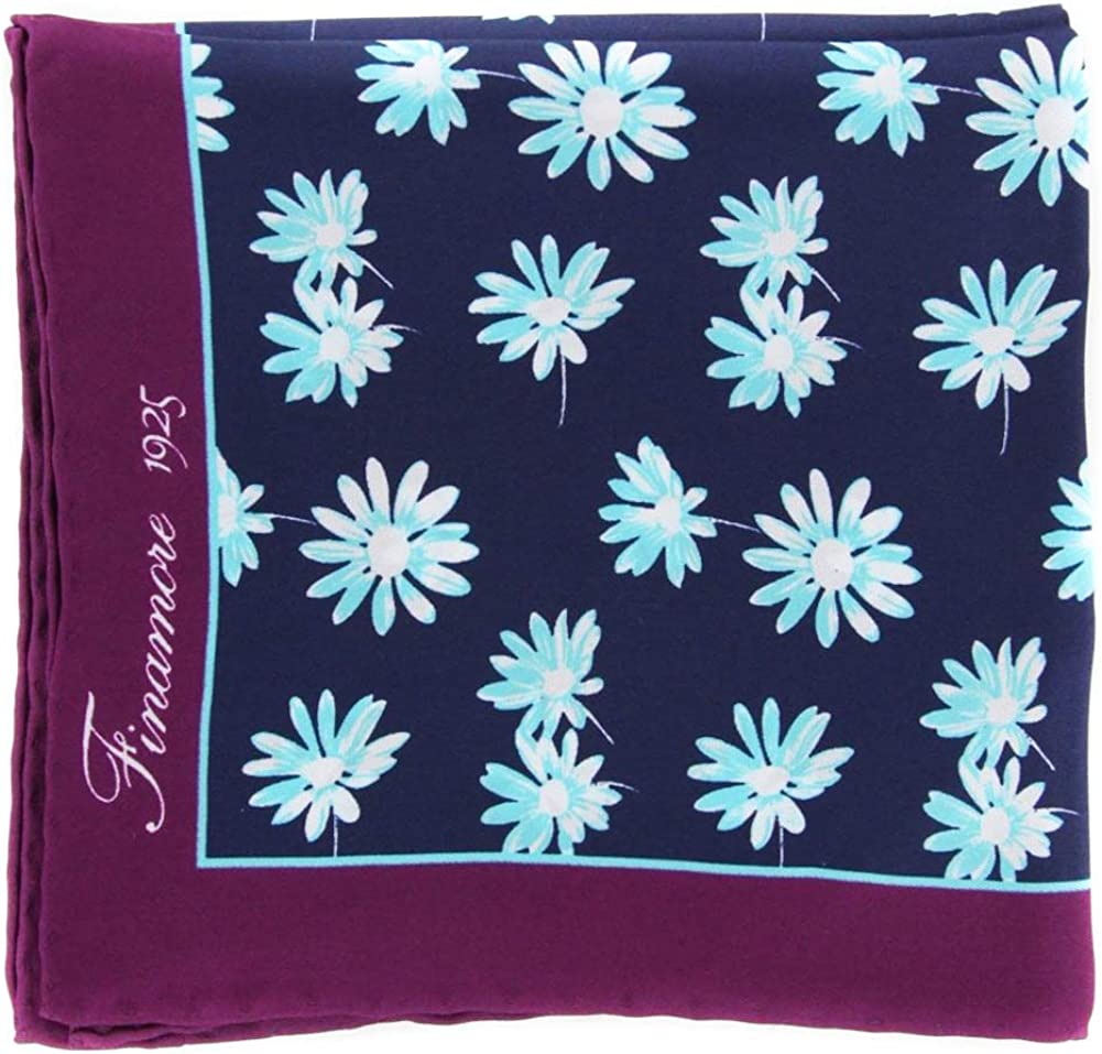 New Finamore Napoli Navy Blue Floral Pocket Square - 13