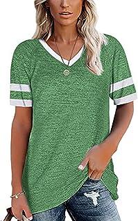 Women's Short Sleeve V Neck T-Shirts Summer Loose Tunics...