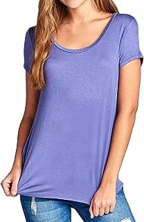Re.Born Women's Jersey Short Sleeve T-Shirt Round Neck, Round Neck Soft Basic Spandex Everyday Tee