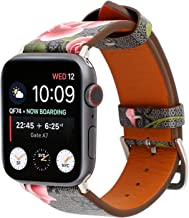 Luxury Leather Watch Band Strap Elegant Blooms Print Wristband Dressy Bracelet Compatible with 44mm 42mm Apple Watch Series 4/3/2/1 (Black/Pink)