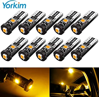 Yorkim 194 Led Bulb Amber Canbus Error Free 3-SMD 2835 Chipsets, T10 Amber Interior Led For Car Dome Map Door Courtesy License Plate Trunk lights with 194 168 W5W 2825 Sockets Pack of 10, Yellow