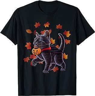 Cat in a vampire costume holding a pumpkin. Halloween Kitten T-Shirt