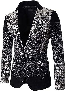 MISSMAO Men's Casual Dress Suit Slim Fit Floral Prints Stylish Blazer Coats Chic Jackets