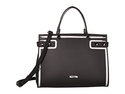 Furla Lady M Medium Tote (Onyx/Gesso) Handbags