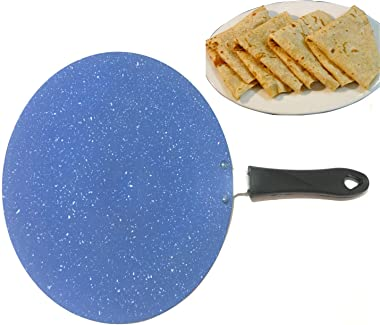 Non-Stick Chapati Tawa Griddle, Roti-Chapati Tawa,2.6 MM Thickness Chapati Flat Bread Cake Chapati Roti Maker Nonstick Flat Multi Tawa with 1-Piece Scrubber & 1-Piece Wooden Spatula(275MM)