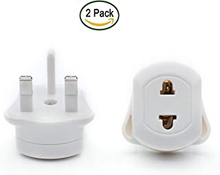 EU 2 Pin to UK 3 Pin Travel AC Power Shaver Toothbrush Q4U® Adapter Plug Converter Adaptor Plug Pack of 2