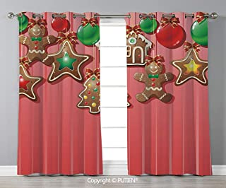 Grommet Blackout Window Curtains Drapes [ Gingerbread Man,Christmas Cookies and Baubles with Bowties Symbolic Pastry Kids Design Decorative,Multicolor ] for Living Room Bedroom Dorm Room Classroom Kit