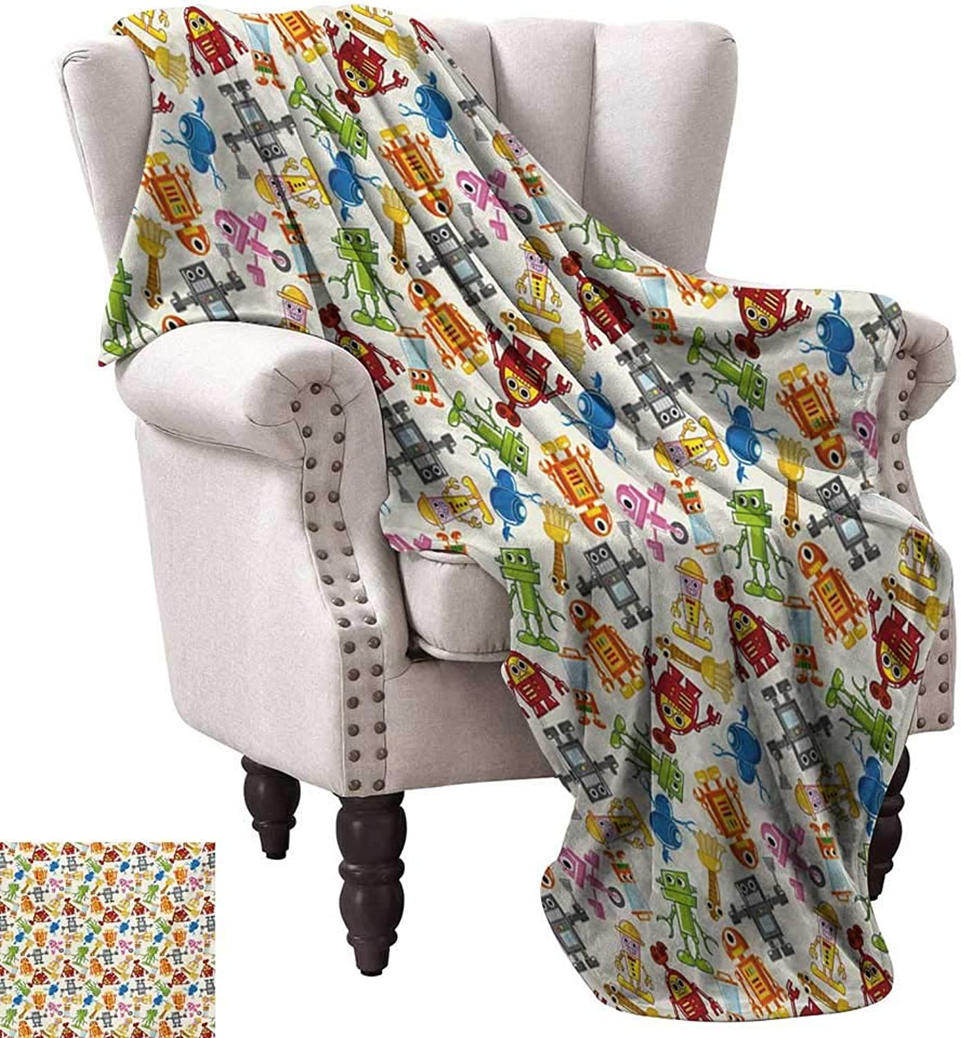 Anyangeight Weave Pattern Extra Long Blanket,colorful Cartoon Robot Collection Boys Nursery Theme Futuristic Fantastic Science Toys 60 x50 ,Super Soft and Comfortable,Suitable for Sofas,Chairs,beds