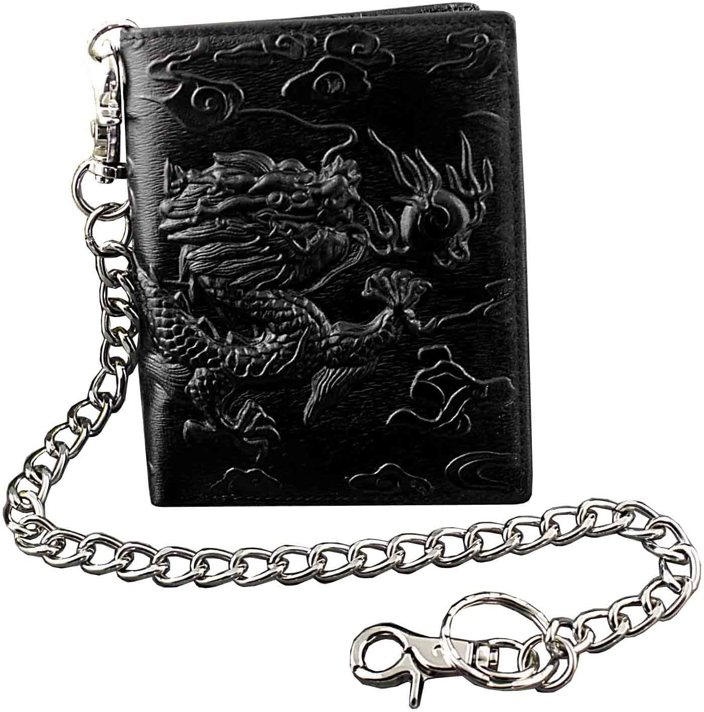 Balck Men Real Leather Vintage Dragon Wallet with Chain Card Holder Purse (vertical)