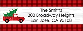 Big Dot of Happiness Custom Merry Little Christmas Tree- Personalized Red Truck Christmas Party Return Address Labels - 30