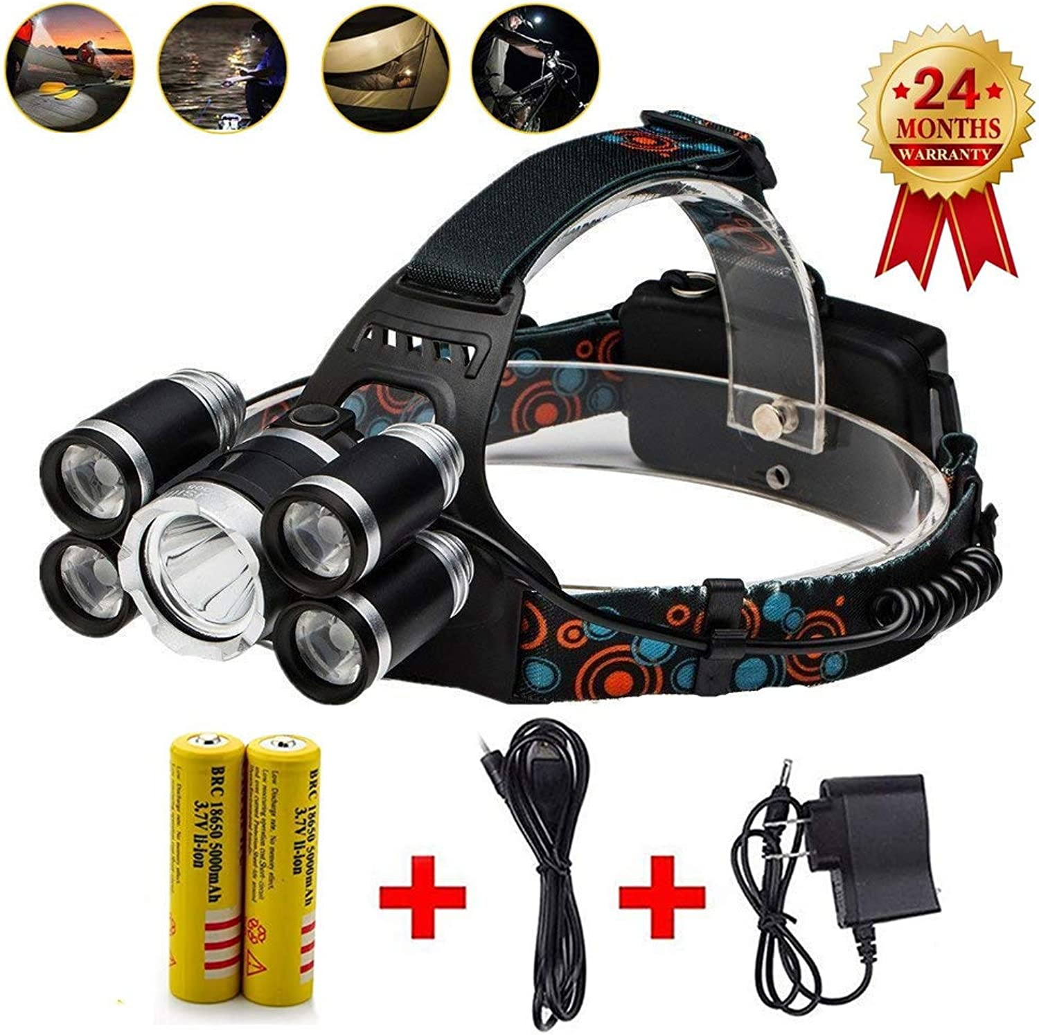 Super Bright 8000 lumens Led Headlamp Flashlight,Waterproof Hard Hat Light,5 Lamp Fishing Headlight Torch, Mproved Led with rechargeable batteries for camping travel cycling adventure(Silver)