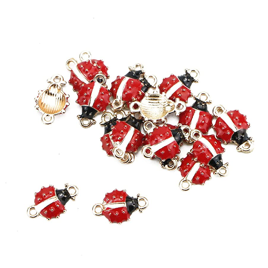 Monrocco 20Pcs Alloy Enamel Ladybug Charms 16x10mm DIY Jewelry Necklace Earring Bracelet Craft Making Animal Pendants with 1.5mm Hole