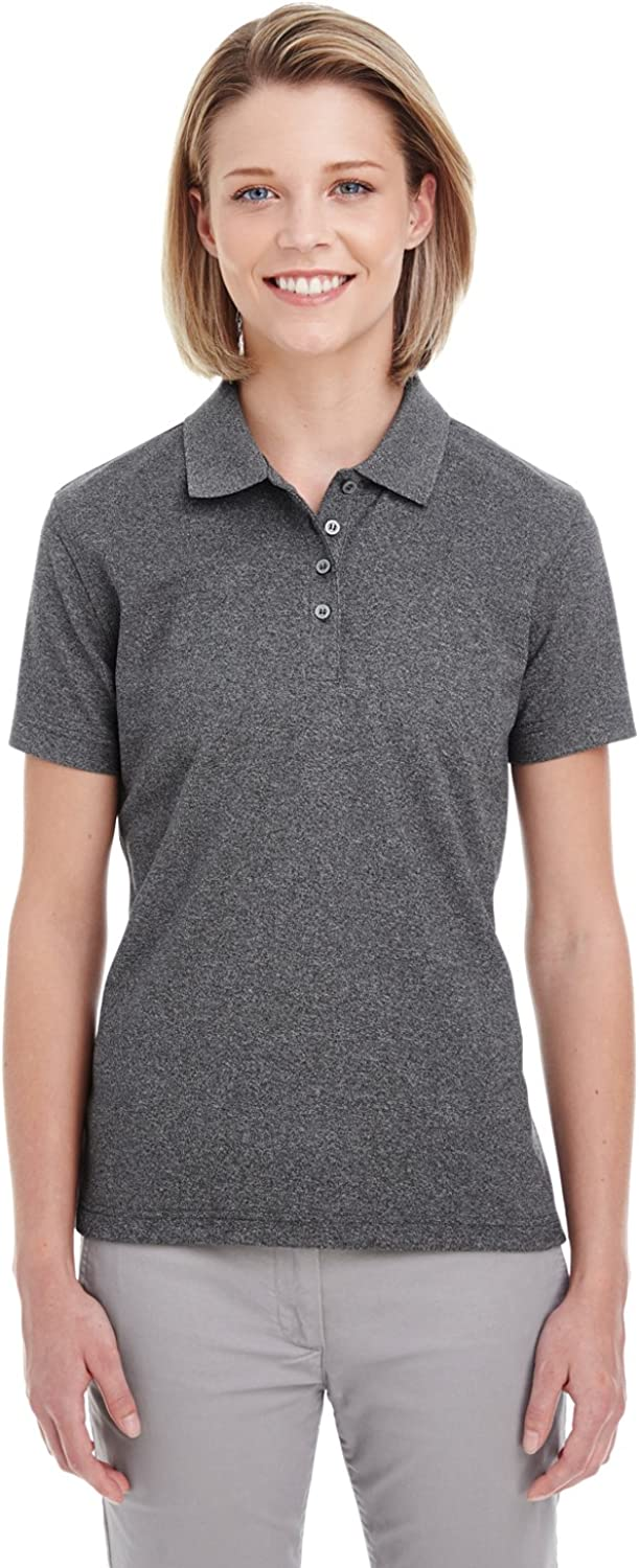 UltraClubs Women's Pique Polo, Black Heather, X-Small