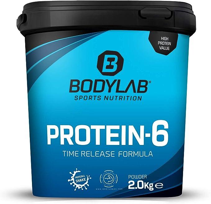 Protein-6 de Bodylab24 2 kg | Polvo de proteína multicomponente con 6 fuentes de proteína | Fresa