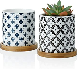 Greenaholics Succulent Plant Pots - 3 Inch Cylindrical Ceramic Planter for Cactus, Succulent Planting, with Drainage Hole, Bamboo Trays, Set of 2, Japanese Pattern, Navy Blue&Black
