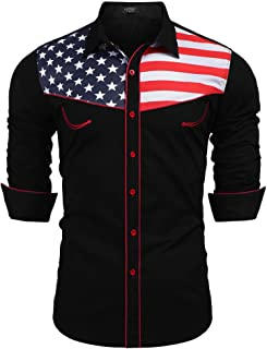 COOFANDY قمصان رجالية كاجوال العلم الأمريكي زر أسفل قميص سليم صالح طويل الأكمام