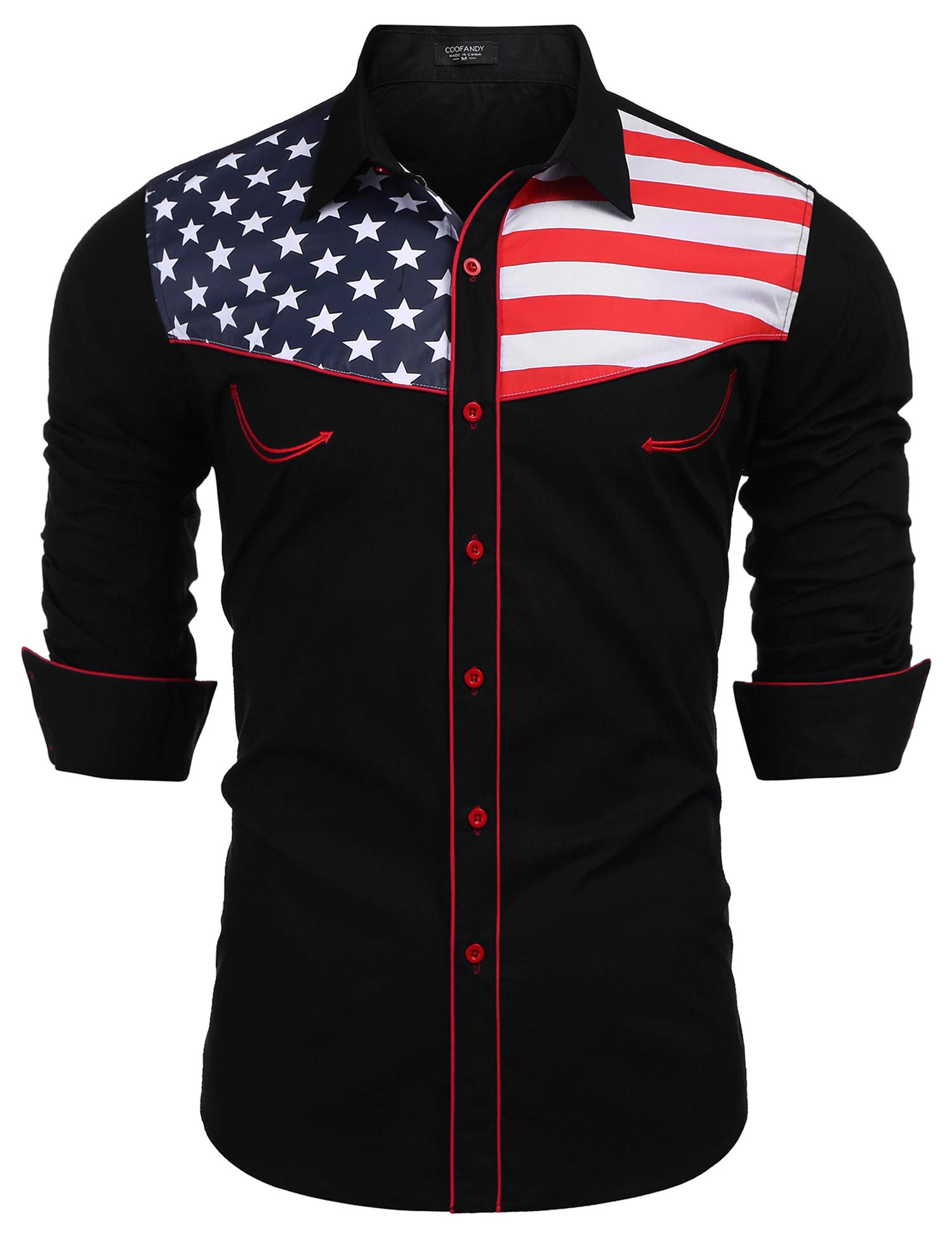 COOFANDY American Shirts Western X Large