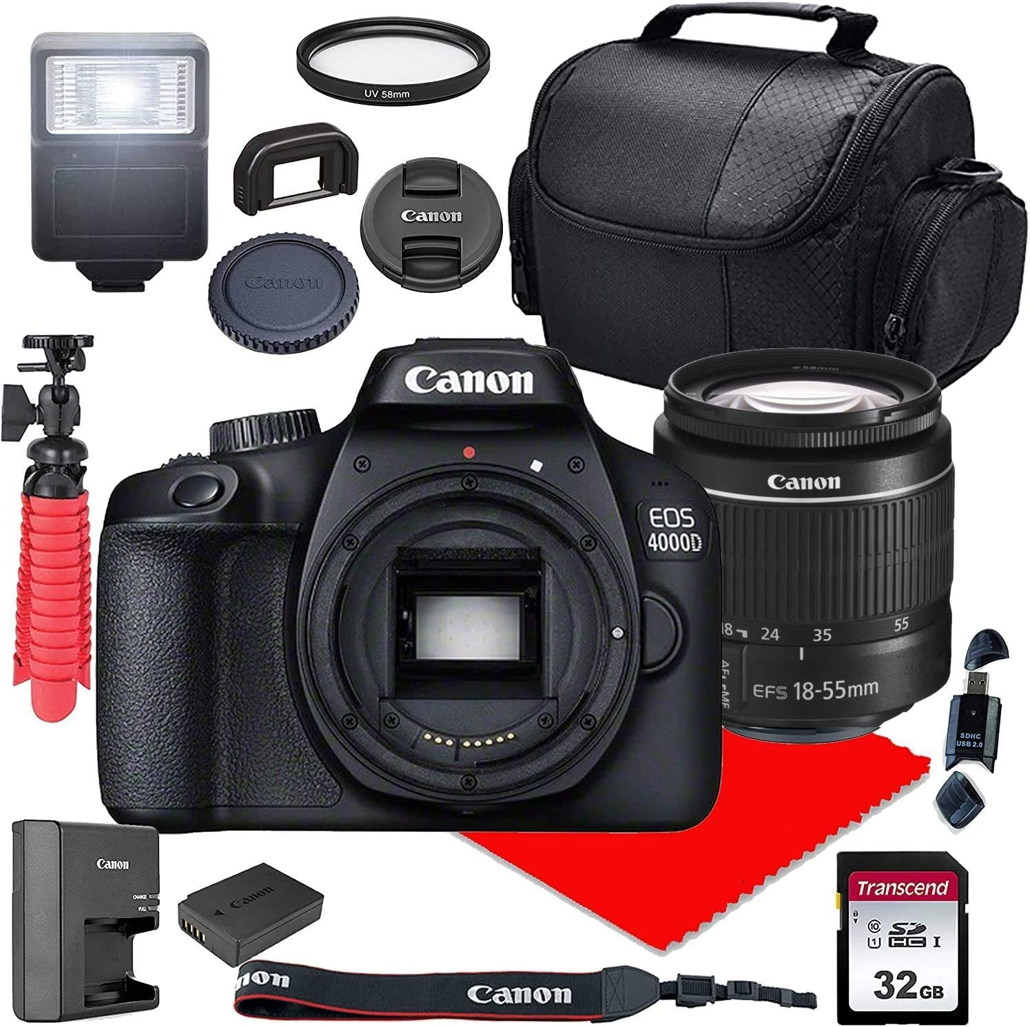 Challenge the lowest price of Japan ☆ Canon EOS 4000D Camera w 18-55mm 32GB Lens Case + San Diego Mall III