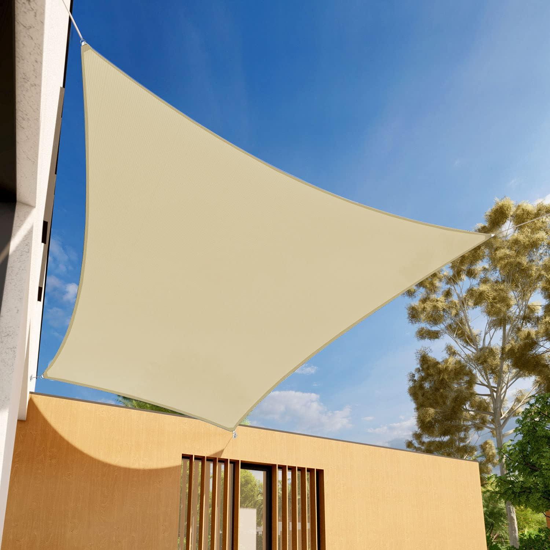 EK Sunrise 4' x 12' Tan Sand Shade Sail Rectangle Branded Same day shipping goods - Sun Canopy