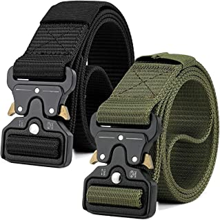 MOZETO Tactical Belts for Men, 2 PCS 1.5 Inch Military Style Nylon Work Web Mens Belt with Heavy-Duty Quick-Release Buckle