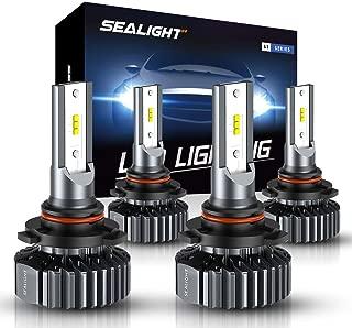 SEALIGHT 9006 HB4 Low Beam 9005 HB3 High Beam LED Headlight Bulbs, Combo Package CSP Led Chips Light Kits - 12000LM 6000K White