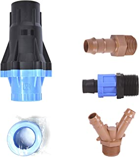 "Universal Drip Irrigation Faucet Adapter Connector Kit: Connect Any 1/2 Inch Tubing to 3/4"" Inch Faucet/Garden Hose - Incl..."