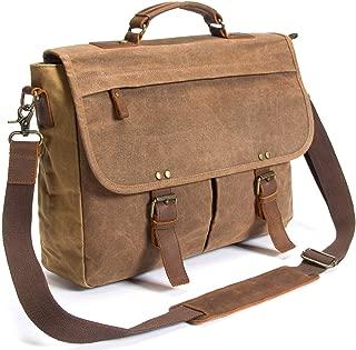 Laptop Messenger Bag (15.6'' Computer Bag) Canvas and Leather Shoulder Briefcase (Brown 15.6'' Laptop Bag)