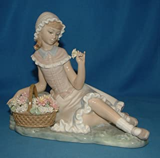Lladro Figurine, 4907 Admiration, Girl with flower basket