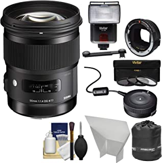 シグマ50mm f / 1.4アートDG HSMレンズ(For Canon EOS) with MC - 11マウントコンバータ+ USB Dock +フラッシュ+キットfor Sony FE & e-mountカメラ