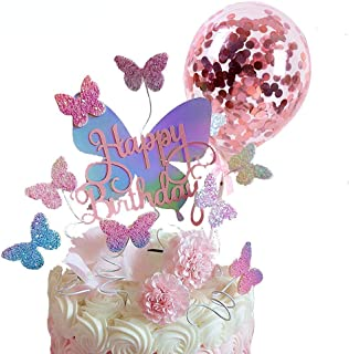 Pack of 12, Gradient Sequise Butterfly Happy Birthday Cake topper, Rose Gold Confetti Balloon Wedding Baby Shower Party cu...