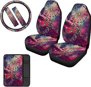 FUIBENG 6 Pcs Set Galaxy Watercolor Dreamcatcher Print Car Seat Cover Set/Steering Wheel Protector/Armrest Cover Pad/Seat Belt Shoulder Pads, Universal Automotive Accessory