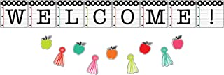 Schoolgirl Style Black, White and Stylish Welcome Bulletin Board Set—Inspirational Pennants, Colorful Tassels, Apple Cutou...