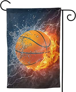 Basketball Garden Flag Fire Water House Flag Vertical Double Sided Yard Outdoor Decor Party 12.5 X 18 Inch