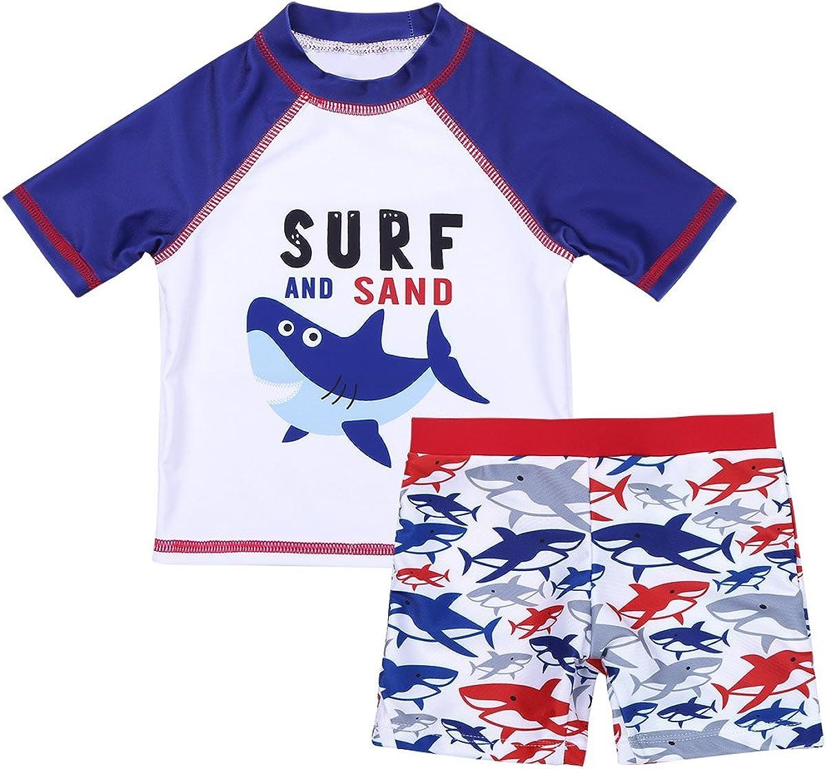 CHICTRY Baby Boys Kids Long//Short Sleeve UV Sun Protection Swimsuit Rash Guard with Shark Printing