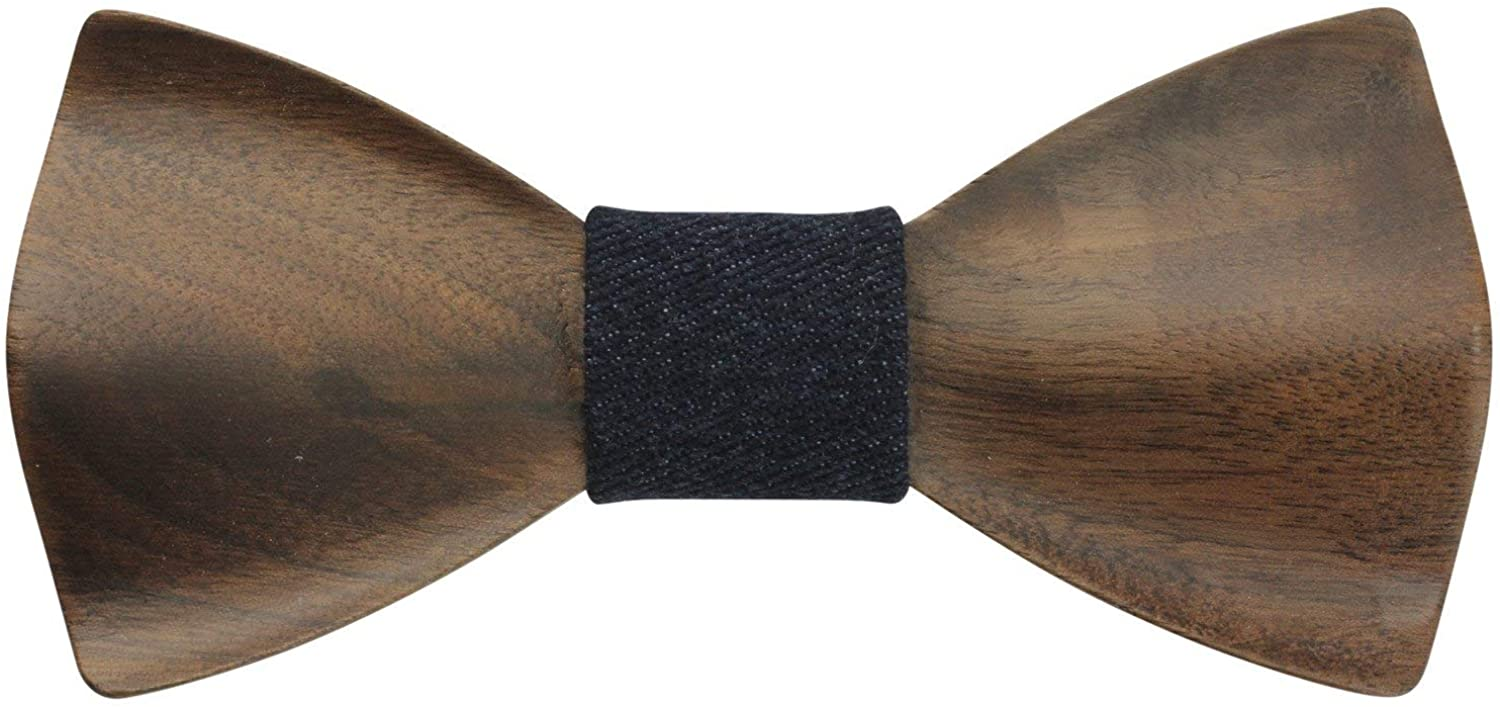 Adult-Sized Wooden Bow Tie with Adjustable Satin Neckband
