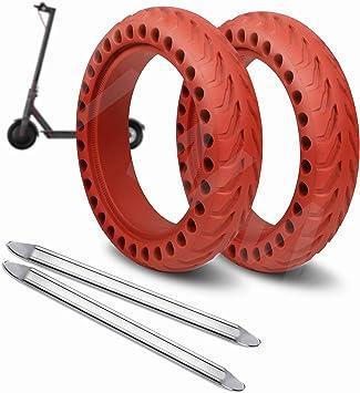 ANSENI® Ruedas Macizas Roja para Patinete Electrico Rueda de 8.5 Pulgadas, Neumáticos de Reemplazo, Rueda de Repuesto Antipinchazo Compatible con ...