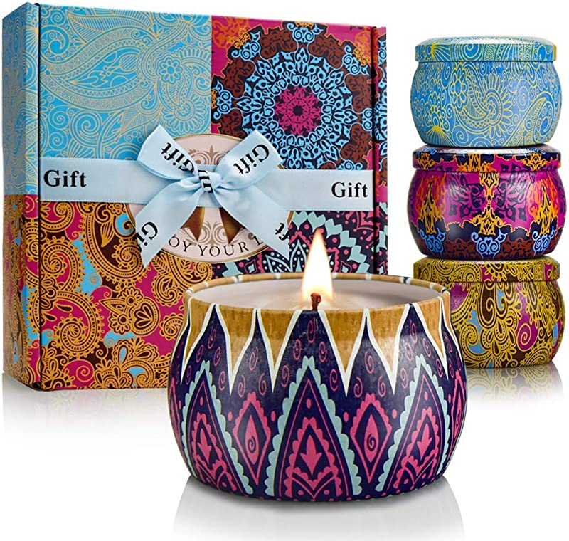 YINUO LIGHT Scented Candles Gift Set 100 Soy Wax Portable Travel Tin Candles Women Gifts For Stress Relief And Aromatherapy Relaxation 4 X 4 4 Oz