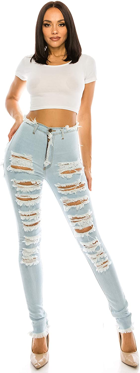 Aphrodite High Waisted Jeans for Women - High Rise Skinny Womens Hand Sanding Distressed Ripped Jeans with No Pockets 4767 Ultra Light Blue 11