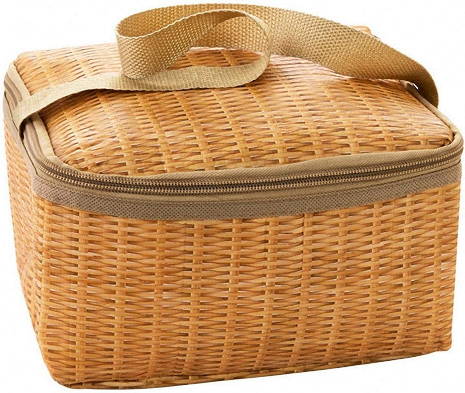 Portable Wicker Rattan Outdoor Picnic I Max 88% OFF Tableware Waterproof Bag Purchase