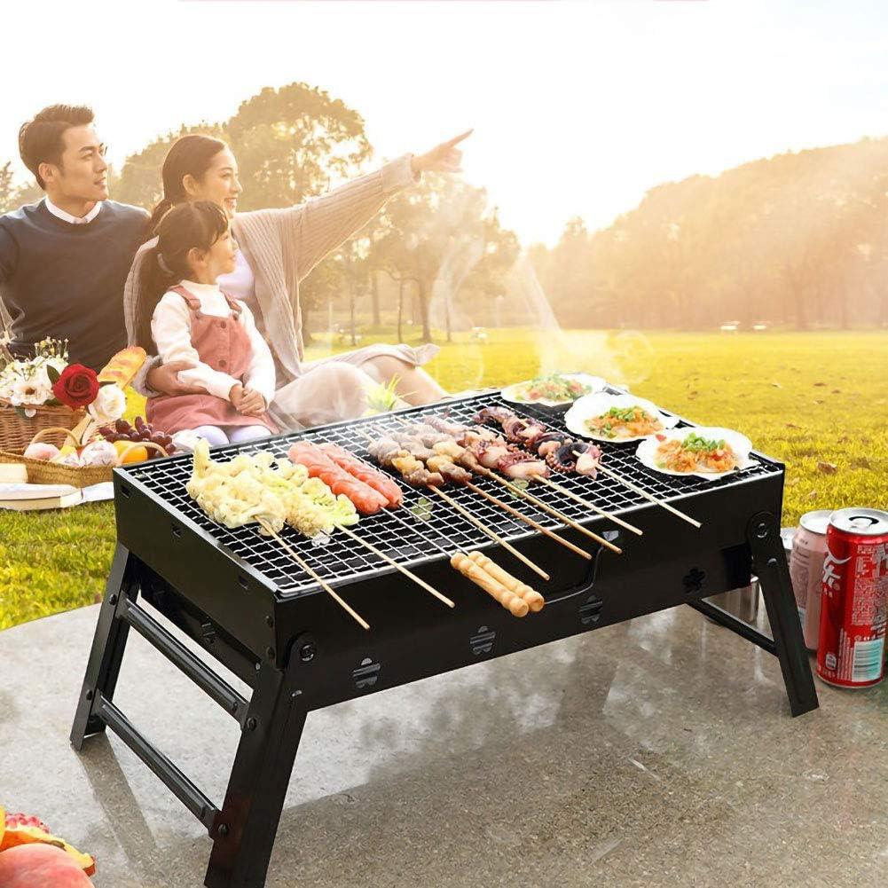 JKLJKL Barbecue Grill extérieur Barbecue Portable Pliable Grill Charcoal Oven Famille 5-7 Personnes Pique-Nique Parc de Cuisine,Noir Black