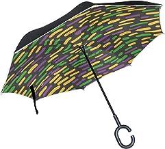 CHLBOJ Double Layer Inverted Umbrella Cars Reverse Umbrella Mardi Gras Sprinkle Windproof UV Proof Travel Outdoor Umbrella