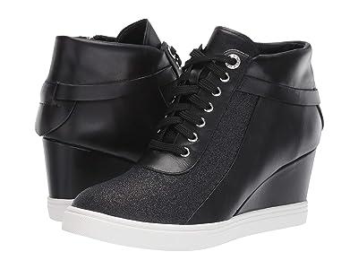 LINEA Paolo Freja Wedge Sneaker (Black Leather/Glisten Leather) Women