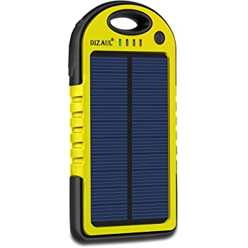 Dizaul Solar Charger, 5000mAh Portable Solar Power Bank Waterproof/Shockproof/Dustproof Dual USB Battery Bank Compatible with All Smartphones,iPhone,Samsung,Android Phones,Windows Phones,GoPro,GPS