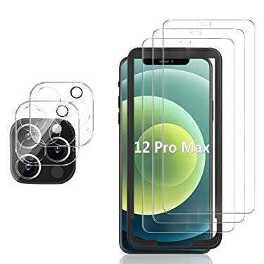 GESMA Screen Protector Compatible for iPhone 12 Pro Max, [3 Screen Protectors+2 Camera Protector+1 Tray][Touch Sensitive]Tempered Glass Screen Protector Compatible for iPhone 12 Pro Max 6.7inch(Clear)