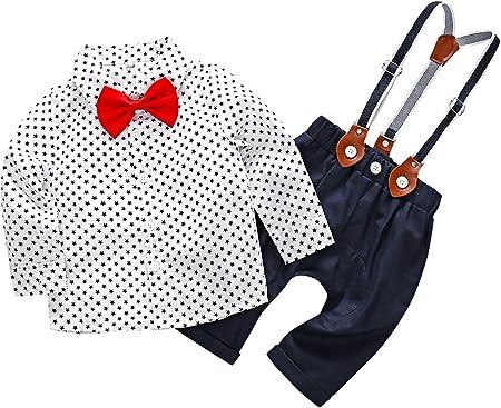Feoya Traje de Bebé Recién Nacido Camisa con Pajarita Pantalones Ropa de Bautizo Fiesta Boda Niño 6-9 Meses - Blanco