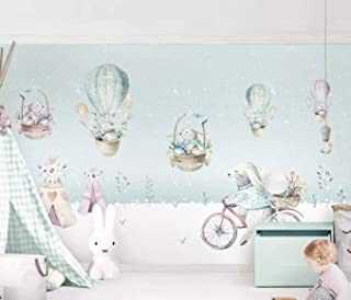 Squirrels with Hot Air Balloons Textile Wallpaper Winter...